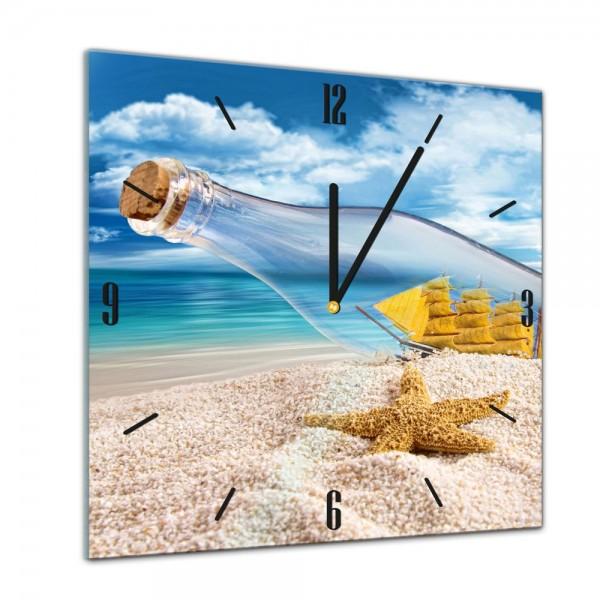 Glasuhr - Sonne, Strand und Meer - Flaschenpost mit Seestern II - 40x40cm