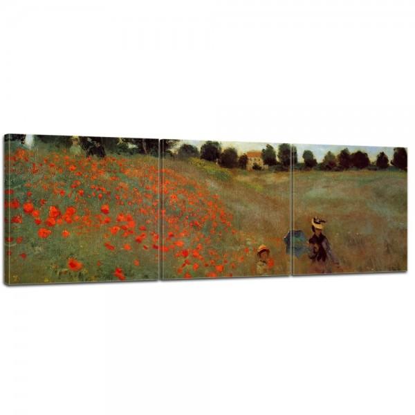 SALE Leinwandbild - Claude Monet Mohnfeld bei Argenteuil - 120x40 cm 3tlg