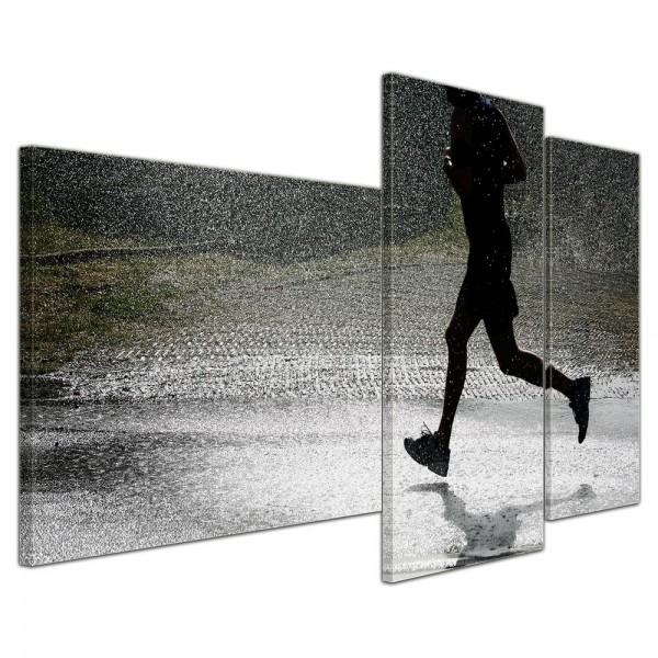 SALE Leinwandbild - Running Retro - 130x80 cm 3tlg - farbig