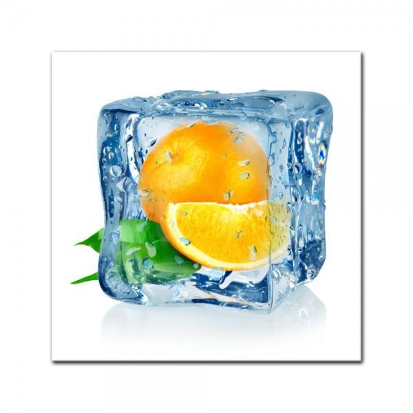 Leinwandbild - Eiswürfel Orange