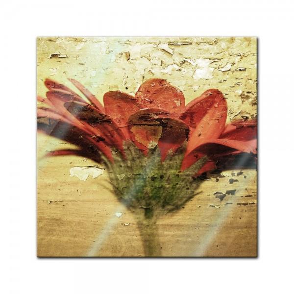 Glasbild - Grunge Blume
