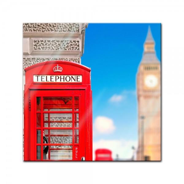 Glasbild - Englische Telefonzelle