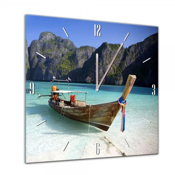 Glasuhr - Sonne, Strand und Meer - Maya Bay Thailand - 40x40cm
