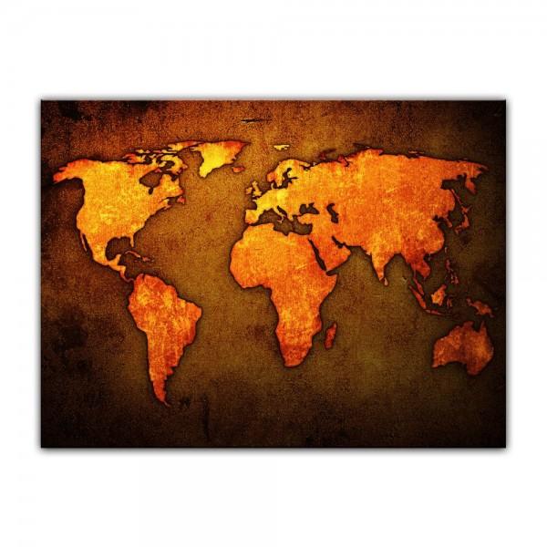 Leinwandbild - Weltkarte - braun