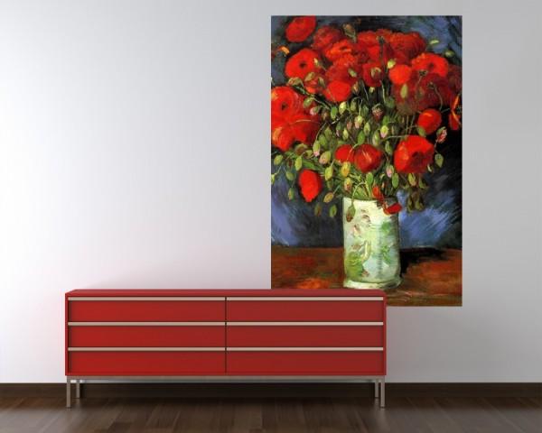 Fototapete Vincent van Gogh - Alte Meister - Vase mit roten Mohnblumen