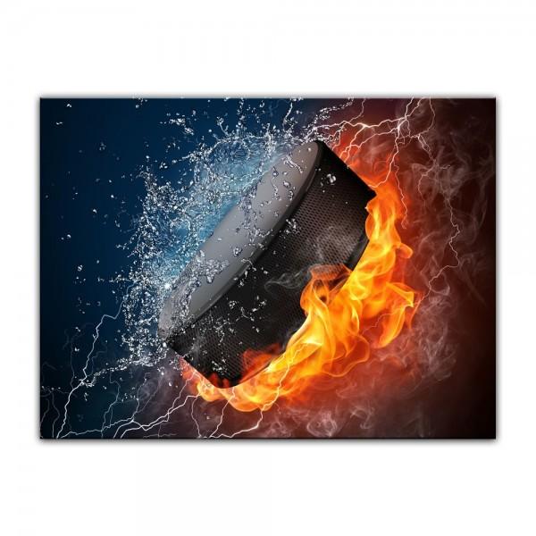 Leinwandbild - Hockey Puck Feuer und Wasser