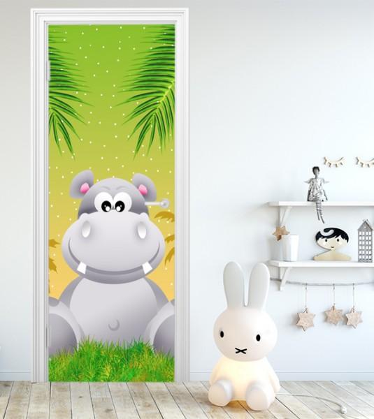 Türaufkleber - Kinderbild Hippo