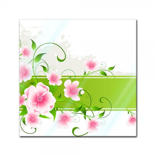 Glasbild - Blumen Grunge II