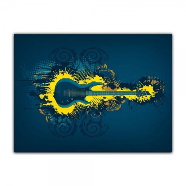 Leinwandbild - E-Gitarre Illustration - gelb