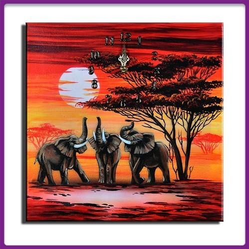 Wanduhr Leinwand Elefanten D 08
