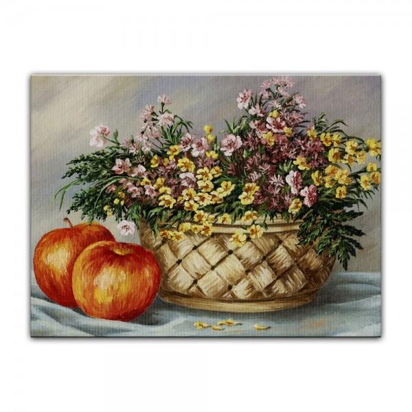 Leinwandbild - Sommerblumen und Äpfel