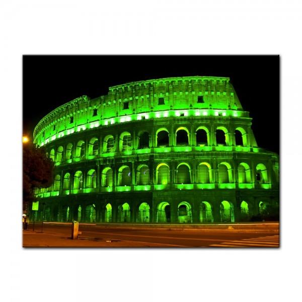 Leinwandbild - Kolosseum bei Nacht - grün