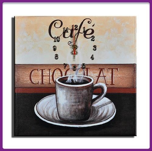Wanduhr Leinwand Cafe Chocolat D 01