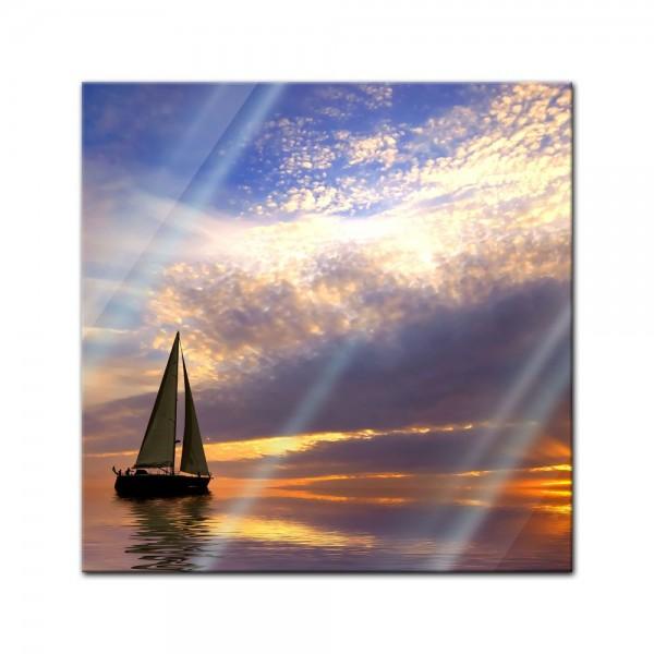 Glasbild - Segelboot im Sonnenuntergang