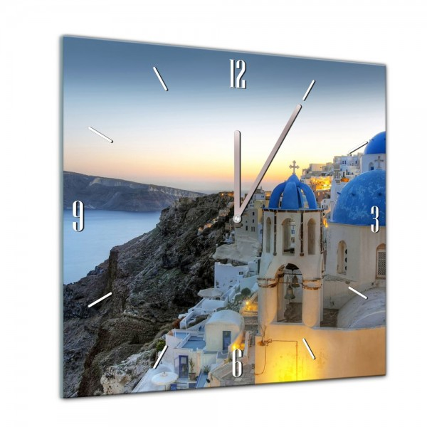 Glasuhr - Städte, Seen & Landschaften - Santorini - Griechenland - 40x40cm