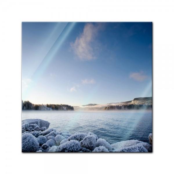 Glasbild - Winter Fjord