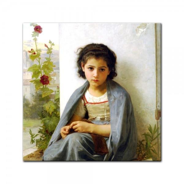 Leinwandbild - William-Adolphe Bouguereau - Die kleine Strickerin