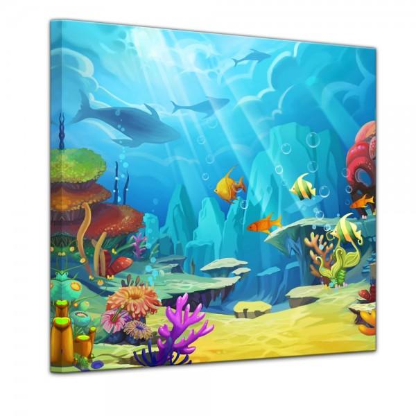 SALE Leinwandbild - Bunte Korallenwelt - 80x80 cm
