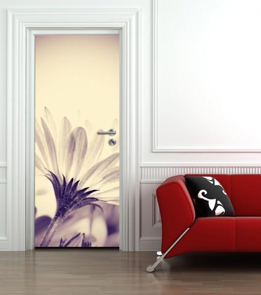 Türtapete selbstklebend Blume - schwarz weiß Vintage 90 x 200 cm Gerbera Pflanze Gewächs Blüte Blät