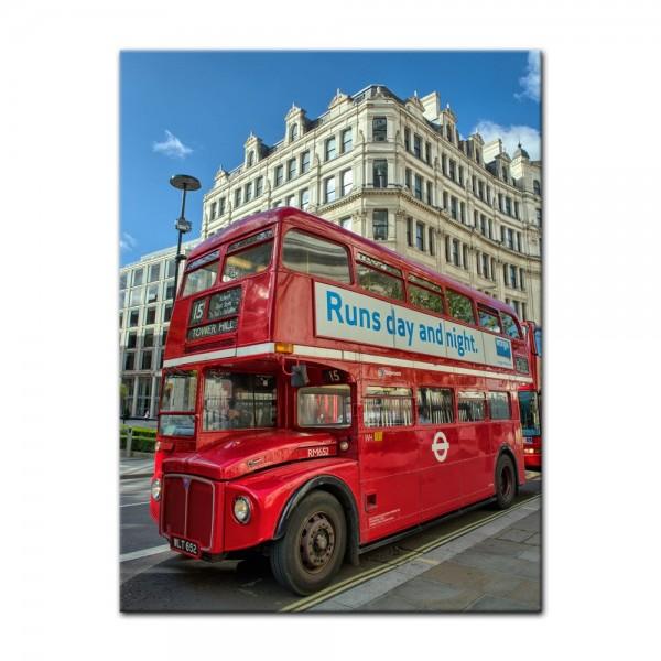Leinwandbild - Roter Doppeldeckerbus London