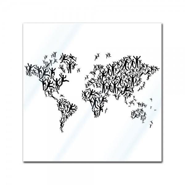 Glasbild - Weltkarte Piktogramm Mensch
