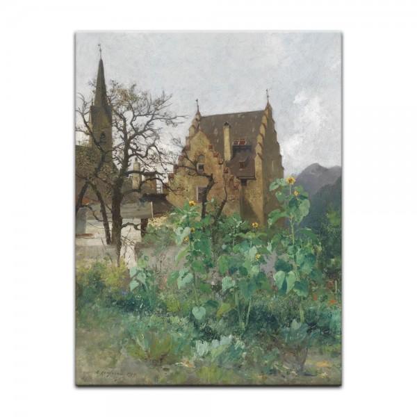 Leinwandbild - Adolf Kaufmann - Sonnenblumen im Vorgarten