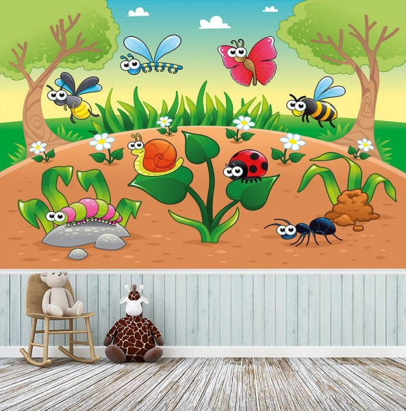selbstklebende Fototapete - Kinderbild - Waldlichtung Cartoon