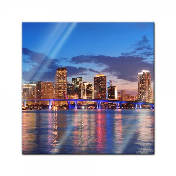 Glasbild - Miami Night Scene - USA