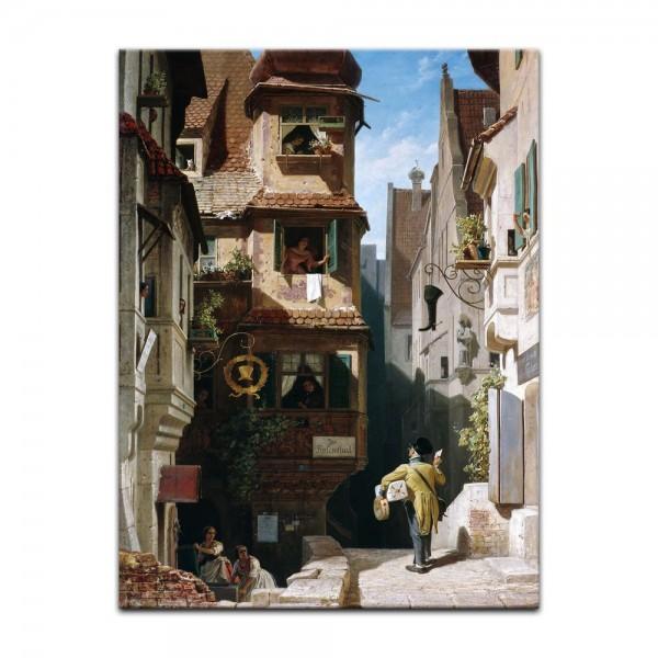 Leinwandbild - Carl Spitzweg - Der Briefbote im Rosenthal