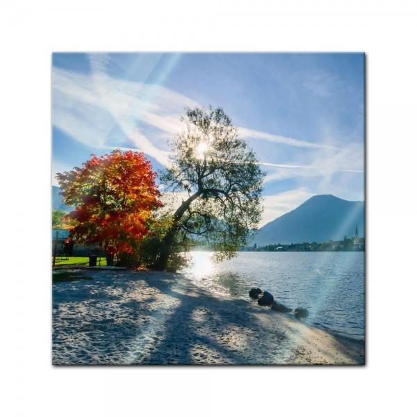 Glasbild - Schöner Morgen am See