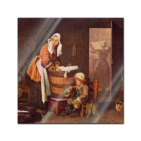 Glasbild Jean Siméon Chardin - Alte Meister - Die Wäscherin