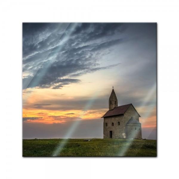 Glasbild - Alte Kirche in Dražovce - Slowakei