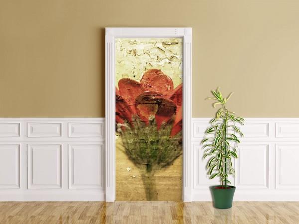 Türaufkleber - Grunge - Blume