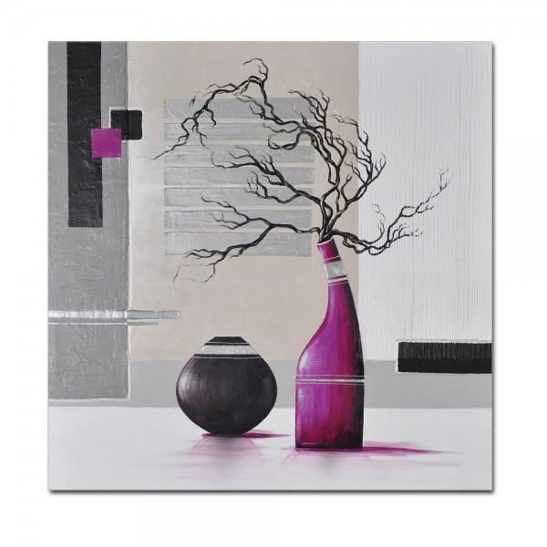Abstrakte Kunst M2 handgemaltes Leinwandbild 80x80cm - 4cm Galerierahmen! - 802
