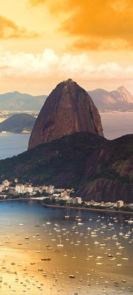 Türtapete selbstklebend Copacabana in Rio de Janeiro 90 x 200 cm Brasilien Sandstrand Zuckerhut Kar