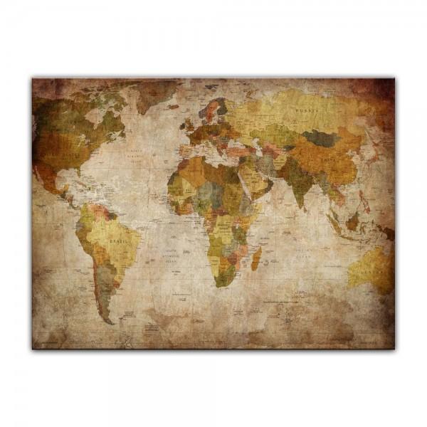 Leinwandbild - Weltkarte retro