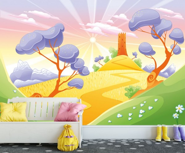 selbstklebende Fototapete - Kinderbild - Phantasielandschaft - Rapunzels Turm Cartoon