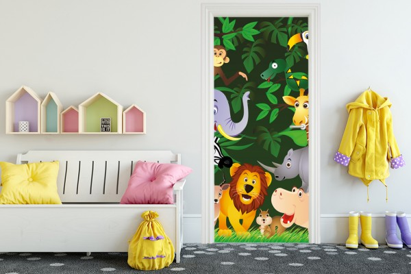 Türaufkleber - Kinderbild Lustige Tiere im Dschungel