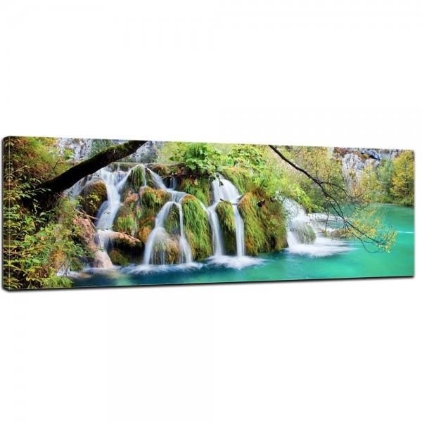 SALE Leinwandbild - Wasserfall im Herbst - 120x40 cm