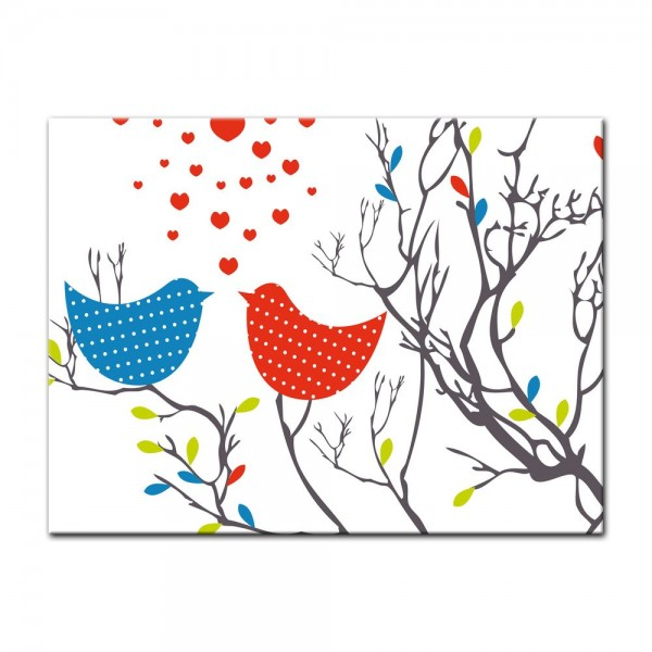 Leinwandbild - Kinderbild - Verliebte Vögel