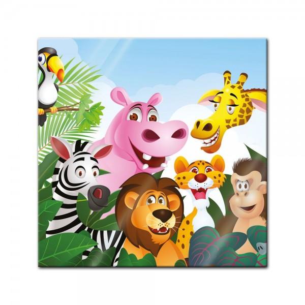 Glasbild - Kinderbild Dschungeltiere Cartoon III