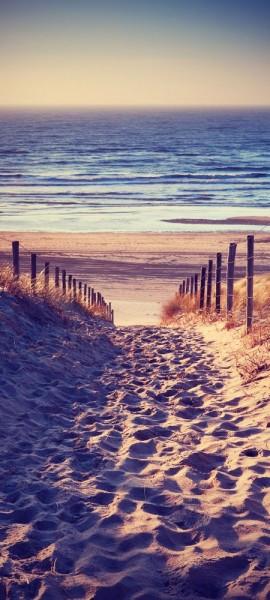 Türtapete selbstklebend Schöner Weg zum Strand III Vintage 90 x 200 cm Sand Urlaub Meer Sommer Reis