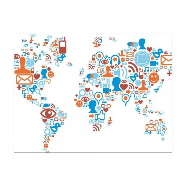 Leinwandbild - Weltkarte Piktogramme soziale Medien