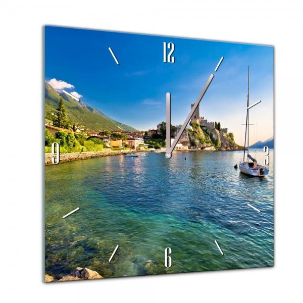 Glasuhr - Städte, Seen & Landschaften - Malcesine am Gardasee - 40x40cm