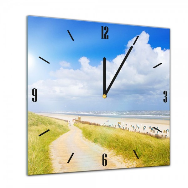 Glasuhr - Sonne, Strand und Meer - Nordsee - 40x40cm