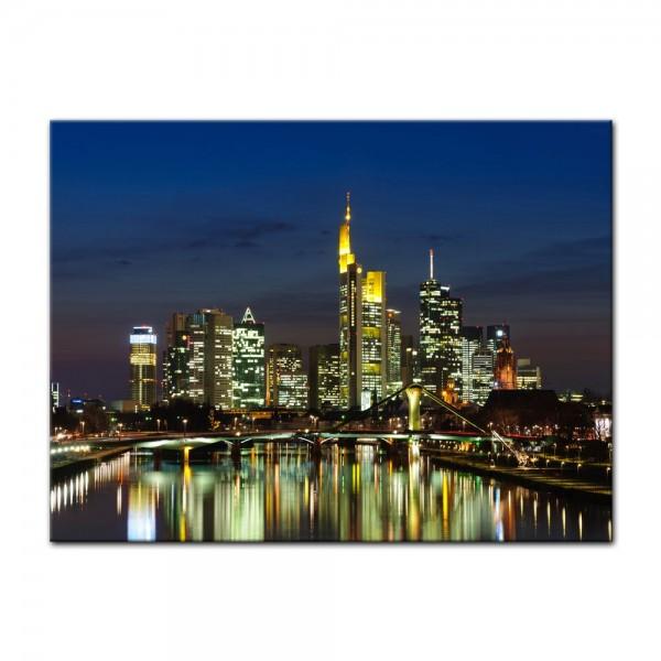 Leinwandbild - Frankfurt Skyline bei Nacht - Deutschland