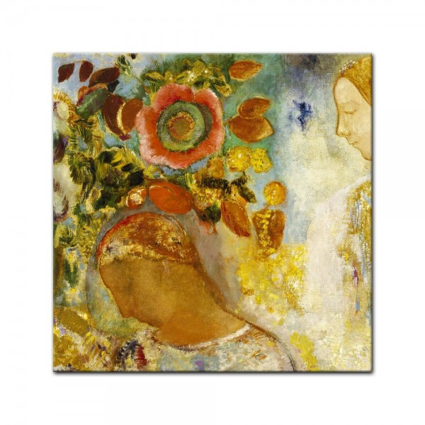 Leinwandbild - Odilon Redon - Zwei junge Mädchen mit Blumen