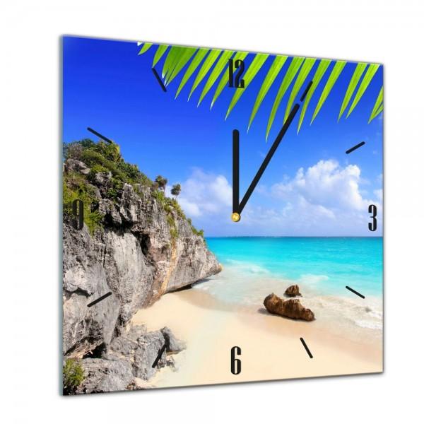 Glasuhr - Sonne, Strand und Meer - Tulum Mexiko - 40x40cm