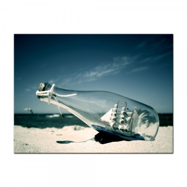 Leinwandbild - Buddelschiff - Schiff in der Flasche