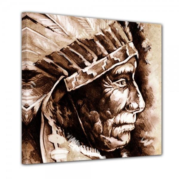 SALE Leinwandbild - Indianer III, Tattoo Art - 60x60 cm